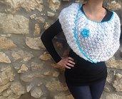 Coprispalle Frozen con lana bianca ornata in cotone