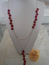 Collana con Pendente Rosso di Perle di Boemia