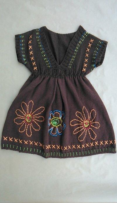 Maglia-miniabito bambina stile impero con ricami hippie