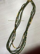 Rif.003 - Collana/Bracciale perline e alcantara