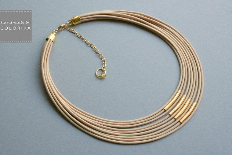 Tessile collana , Colori: beige, oro