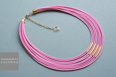 Tessile collana, colori: rosa, oro