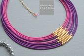 Tessile collana , Colori: viola, rosa, oro