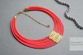 Tessile collana , Colori: neon rosso, oro