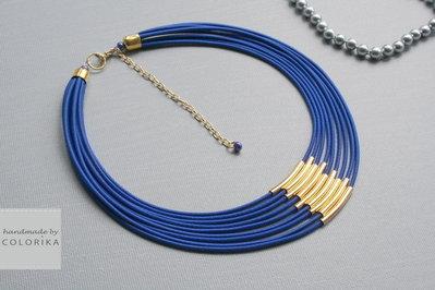 Tessile collana , Colori: blu, oro
