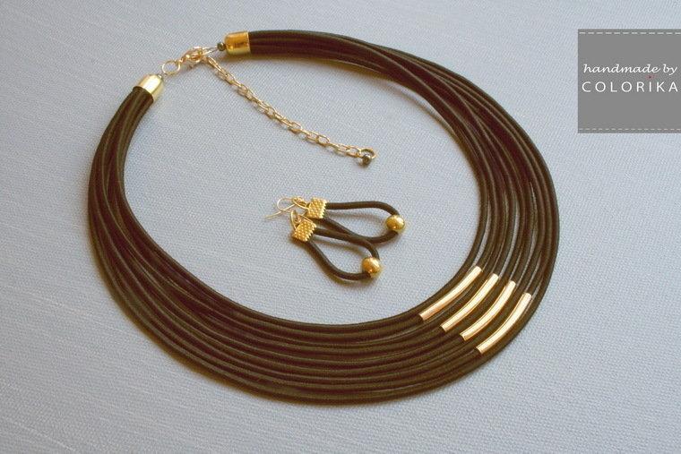 Tessile collana , Colori: nero, oro