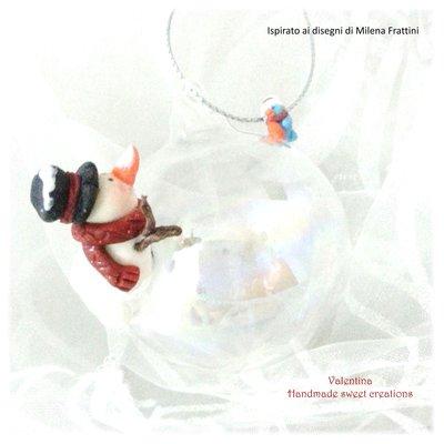 Pallina sfera addobbo natale pupazzo di neve- Albero di Natale