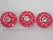 bottoni fucsia con strass 3 pz