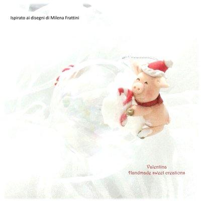 Palla sfera addobbo natale maialino nella neve- Albero di Natale
