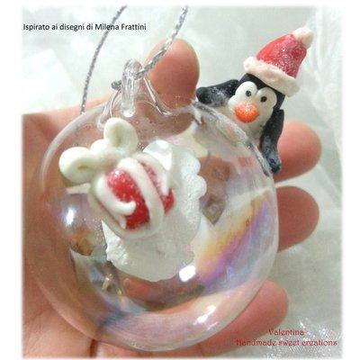 Pallina sfera addobbo natale pinguino pacco regalo neve- Albero di Natale