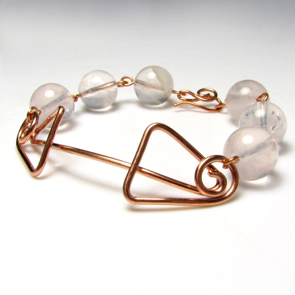 Bracciale in rame, bracciale con quarzo rosa, motivi geometrici - Rosa Candida - nr. 0345