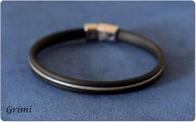 Bracciale da uomo con filo di caucciù nero e filo di cuoio grigio
