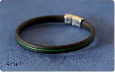 Bracciale da uomo con filo di caucciù e filo di cuoio verde