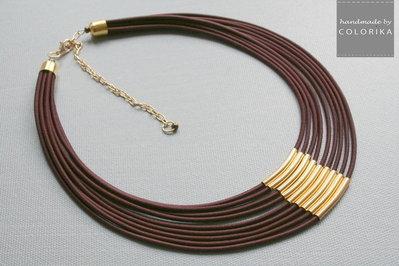 Tessile collana , Colori: marrone, oro