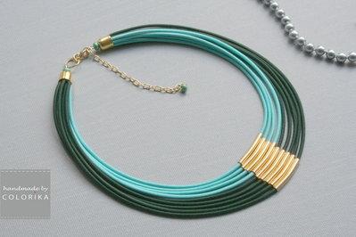 Tessile collana , Colori: verde, oro