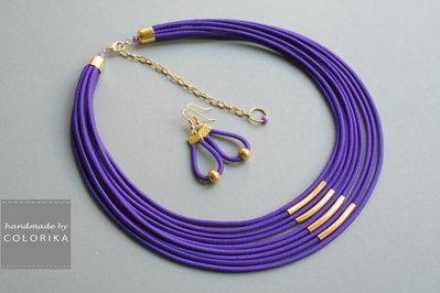 collana tessile e orecchini, colori: viola , oro