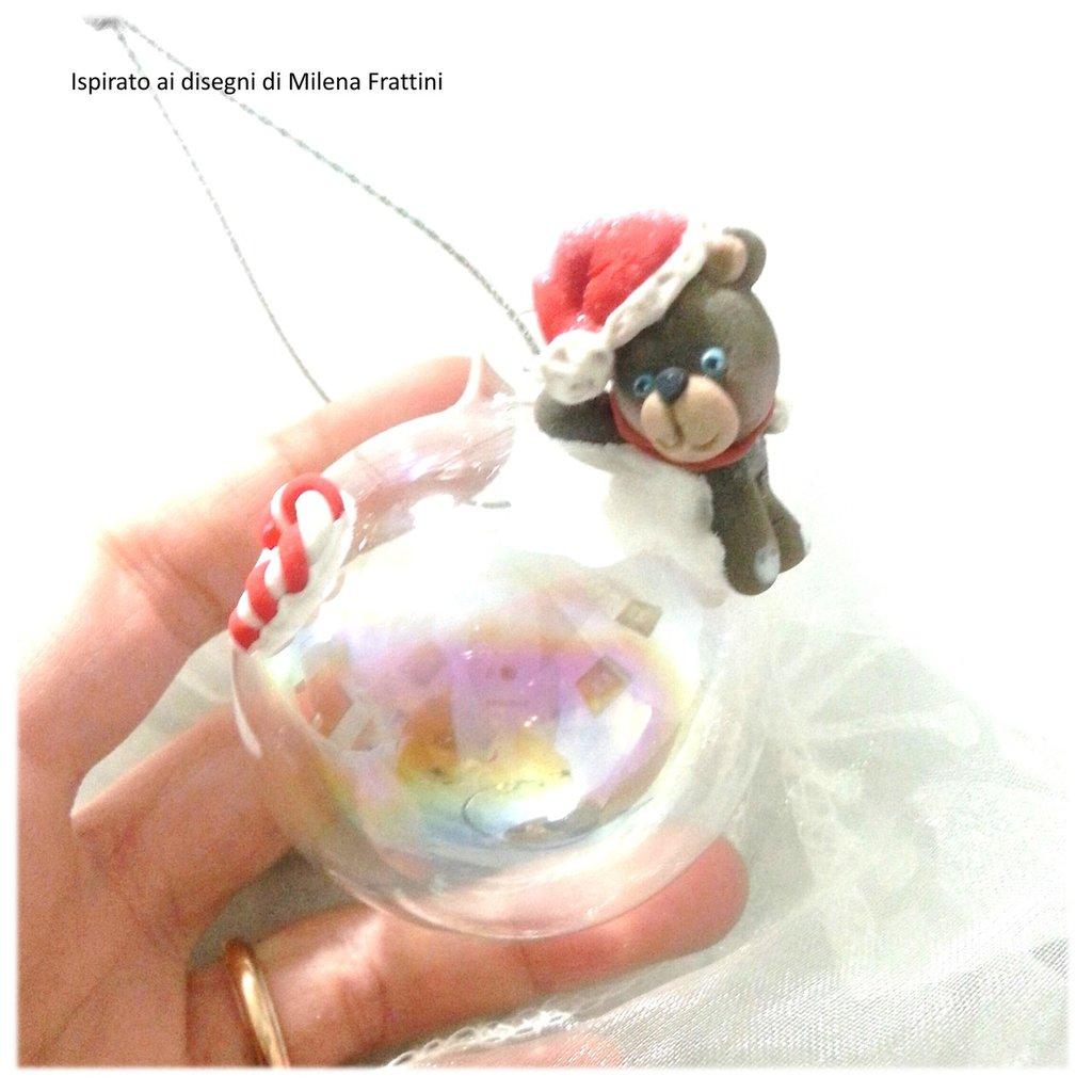 Pallina sfera addobbo natale orsetto nella neve- Albero di Natale