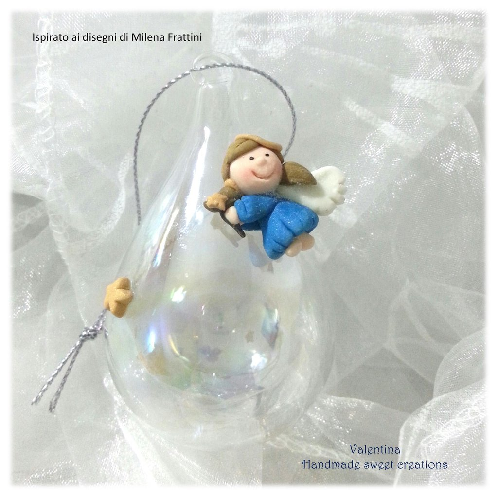 Pallina sfera addobbo natale Angelo azzurro- Albero di Natale