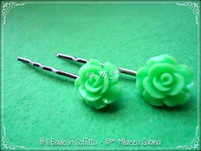 Fermagli per capelli con Rosa Verde