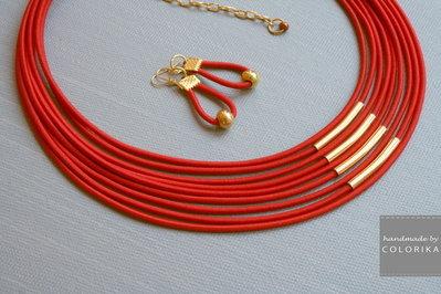Tessile collana , Colori: rosso , oro