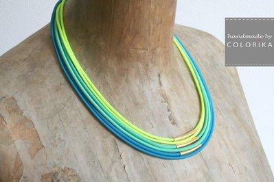 Tessile collana , Colori: turchese, giallo neon, menta, oro