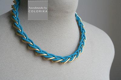 Tessile collana , Colori: turchese , oro