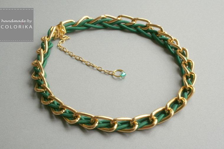 Tessile collana , Colori: verde , oro