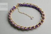 Tessile collana , Colori: viola , oro