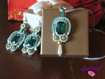 Parure verde smeraldo soutache