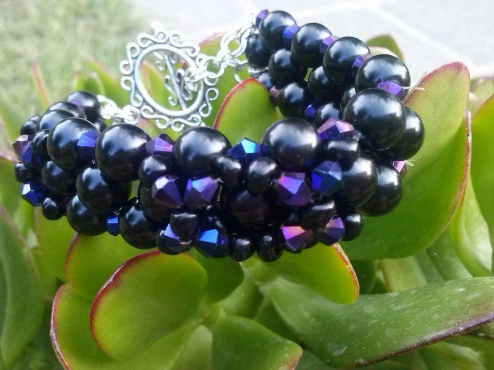 Bracciale  perline nere
