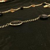 Completo collana lunga con pietre e orecchini in cristallo e filgrana