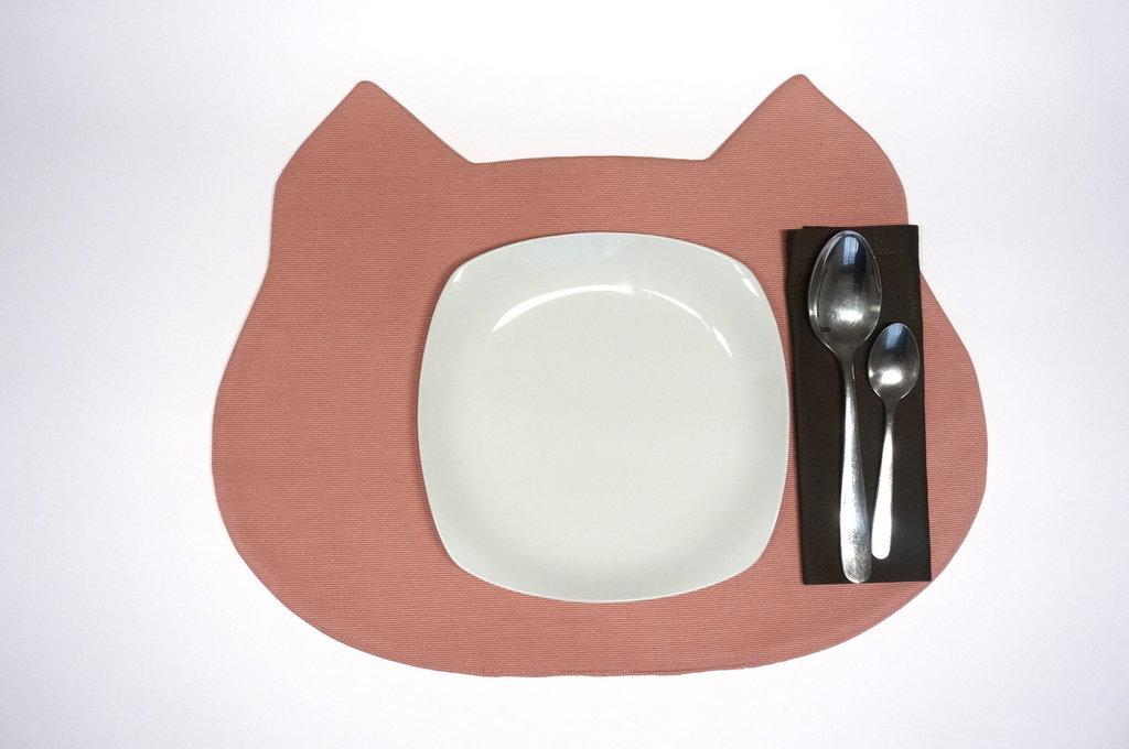 tovaglietta americana Gattino rosa fatta a mano + tovagliolo - incassi devoluti in beneficenza a cani e gatti abbandonati