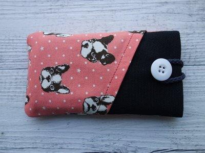 Custodia in tessuto imbottita per smartphone Pink Dogs con tasca 100% fatta a mano - prodotto solidale in aiuto di animali abbandonati