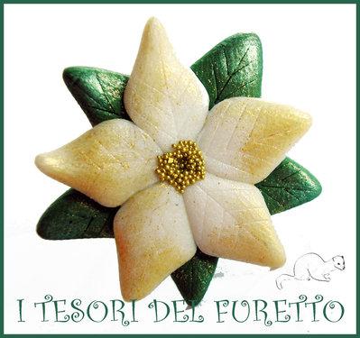 """Anello """"Stella Di Natale Poinsettia """" bianco oro idea regalo donna Natale 2014 fimo cernit elegante"""