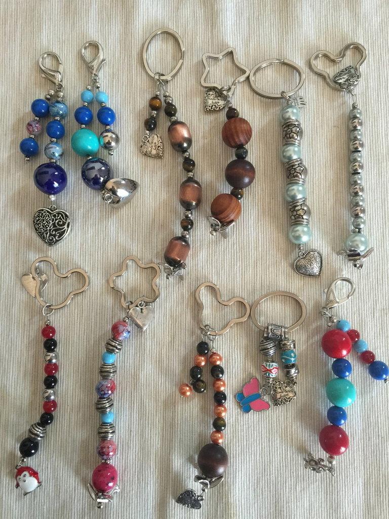 Portachiavi-ciondoli per borsa Vari tipi e fantasie Handmade