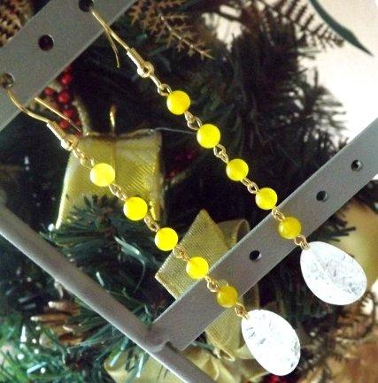 Orecchini con agata gialla e goccia di cristallo di rocca idea regalo Natale