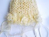 Abbigliamento Bambino / Cappellino neonato / Moda bambina / Fatto a mano / Accessori neonato / photo prop / Romantica bambina / Bianco naturale chic