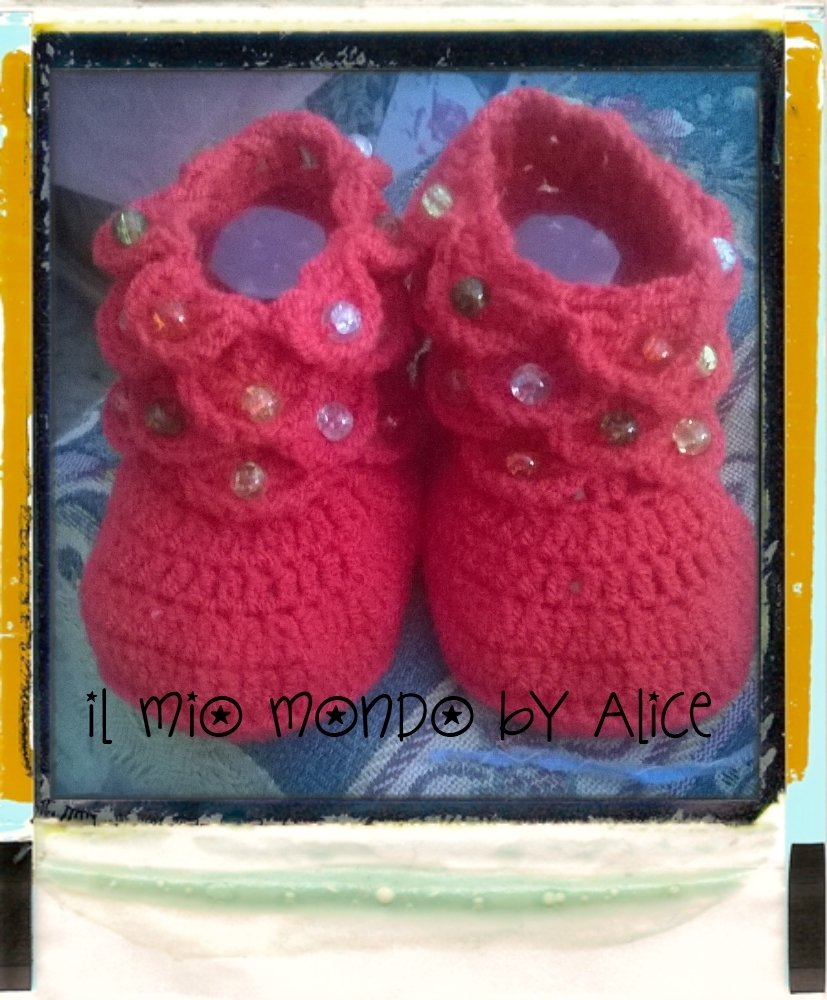 Stivaletti neonato bimba bambina uncinetto 0-6 mesi