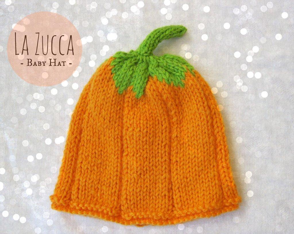 Cappellino Zucca in pura lana vergine per neonato