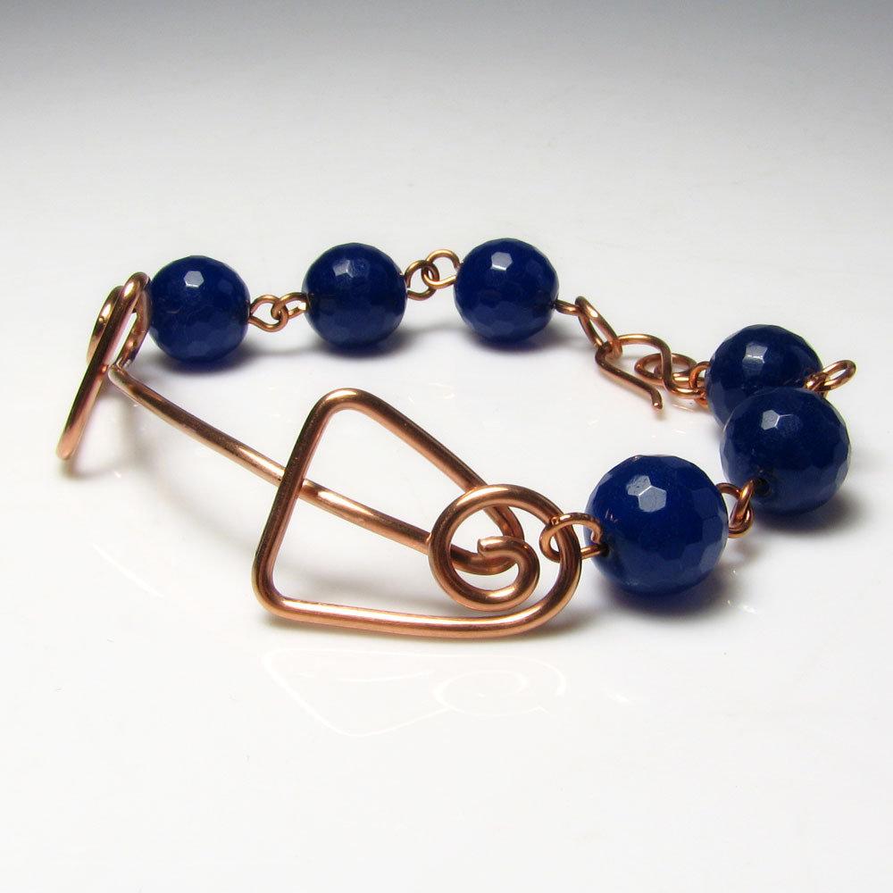Bracciale in rame, bracciale blu, motivi geometrici. Idea regalo. Blu intenso. Nr. 0346
