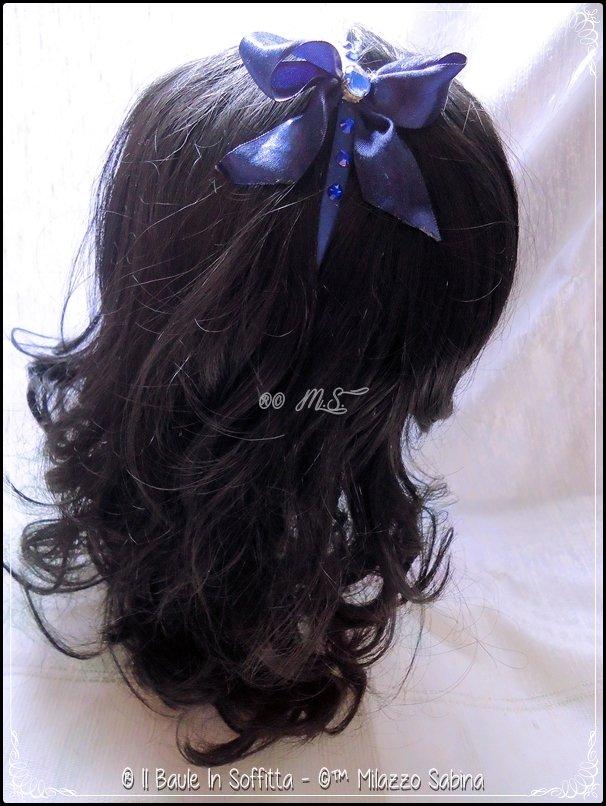Frontino in raso con fiocco e strass - BLU