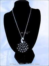 Collana con Charms Pavone smaltato con strass
