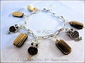 Bracciale perle effetto legno e gufi interno pelle - Versione Marrone