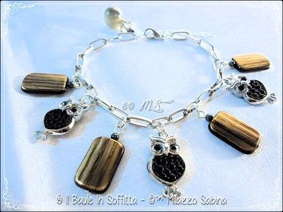 Bracciale perle effetto legno e gufi interno pelle - Versione Nero