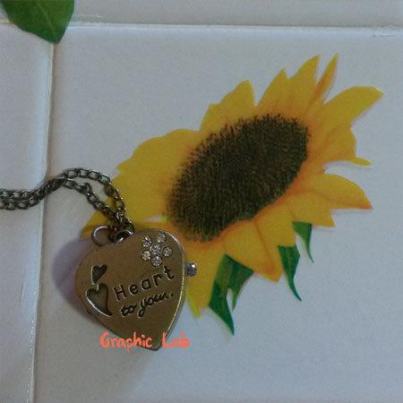 Orologio Collana Vintage Cuoricino Apribile in Bronzo