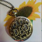 Orologio da Taschino Collana Papà in Bronzo Apribile