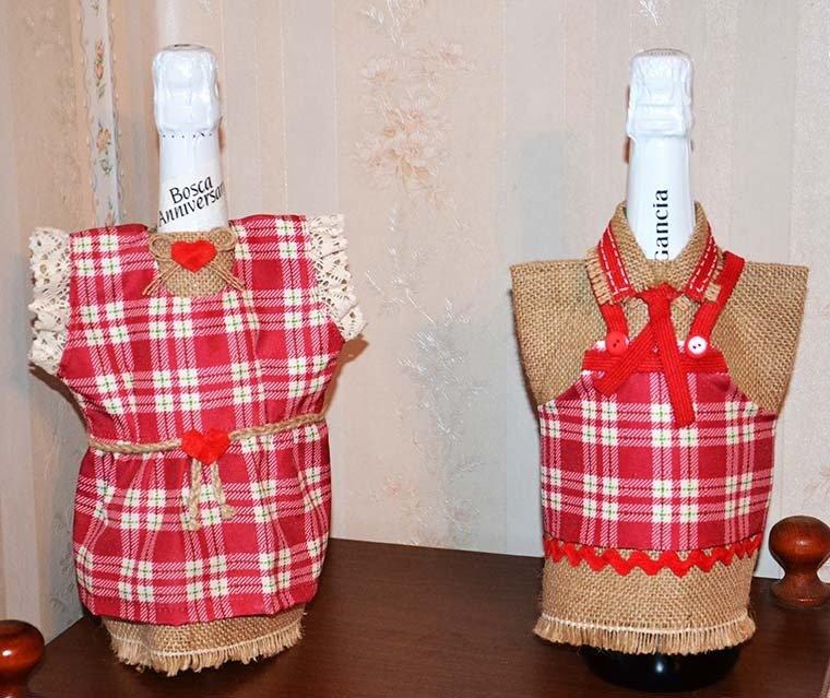 Copri bottiglia Lui & Lei in iuta e stoffa a quadrettini