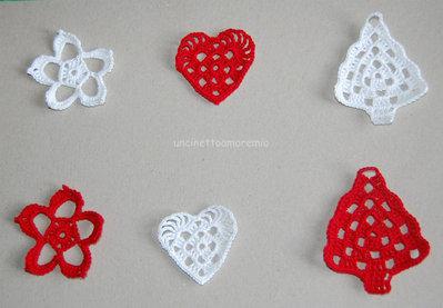 Decorazioni Natale: alberelli - stelle - cuori in rosso e bianco ad uncinetto