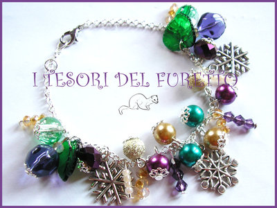 """Bracciale Natale """"Fiocchi di neve Oro viola"""" perle charm elegante idea regalo economica per lei"""