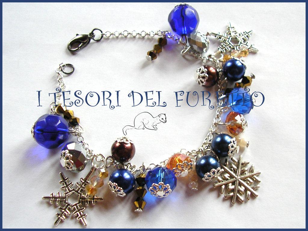 """Bracciale Natale """"Fiocchi di neve perle blu oro"""" elegante idea regalo per lei bijoux natalizi"""